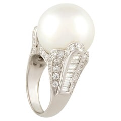 Ella Gafter South Sea Pearl 18mm Diamond Cocktail Ring