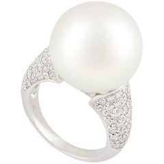Ella Gafter 16mm South Sea Pearl Diamond Cocktail Ring