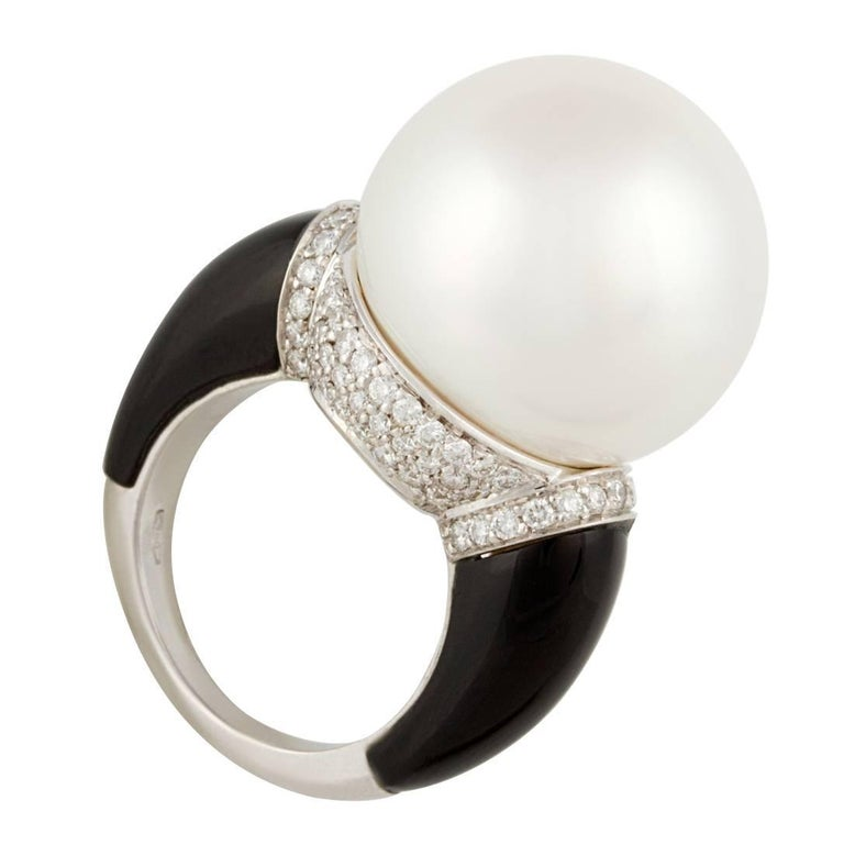 Ella Gafter 18mm South Sea Pearl Diamond Onyx Ring  For Sale