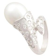 Ella Gafter Pearl Diamond Cornucopia Cocktail Ring