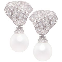 Ella Gafter South Sea Pearl Diamond Drop Earrings