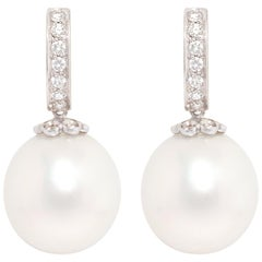 Ella Gafter South Sea Pearl Diamond Earrings