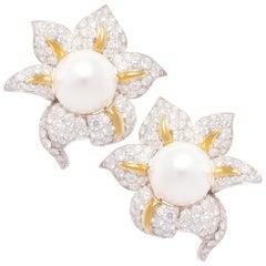 Ella Gafter South Sea Pearl Diamond Earrings
