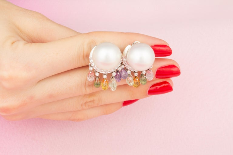 Ella Gafter South Sea Pearl Diamond Earrings with Sapphire Briolettes Clip-On For Sale 1
