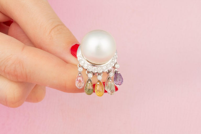 Ella Gafter South Sea Pearl Diamond Earrings with Sapphire Briolettes Clip-On For Sale 2