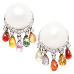Ella Gafter South Sea Pearl Diamond Sapphire Earrings