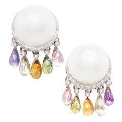 Ella Gafter Pearl Sapphire Briolette Diamond Earrings