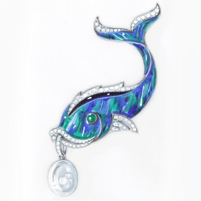Ella Gafter South Sea Pearl Diamond Emerald Fish Brooch Pin For Sale 4