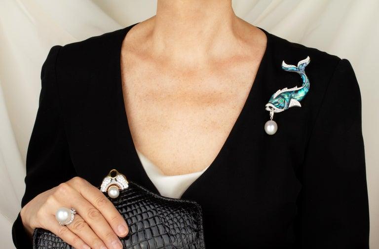 Artist Ella Gafter South Sea Pearl Diamond Emerald Fish Brooch Pin For Sale