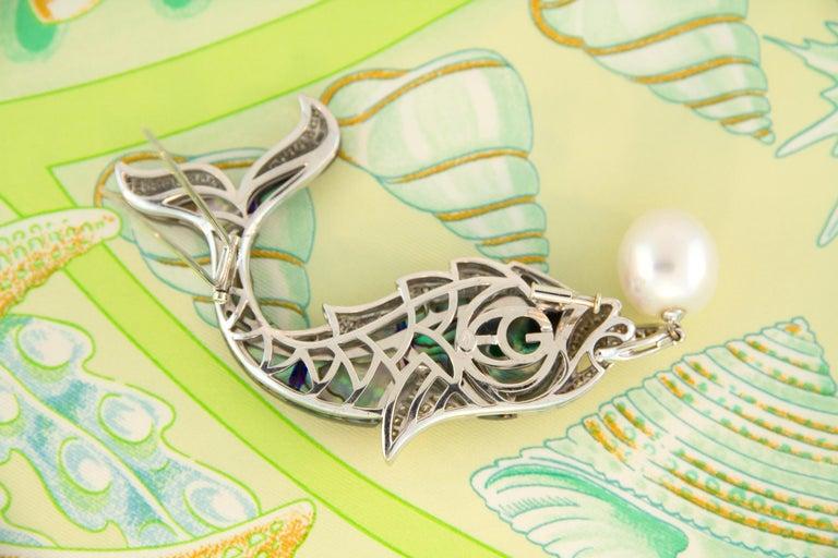 Ella Gafter South Sea Pearl Diamond Emerald Fish Brooch Pin For Sale 3