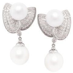 Ella Gafter South Sea Pearl Diamond Leaf Earrings