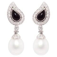 Ella Gafter South Sea Pearl Diamond Onyx Earrings
