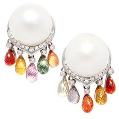Ella Gafter South Sea Pearl Diamond Sapphire Earrings