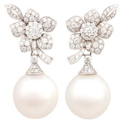 Ella Gafter South Sea Pearl Diamond White Gold Flower Earrings