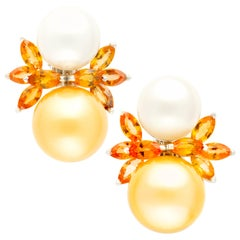 Ella Gafter South Sea Pearl Earrings Yellow Sapphire
