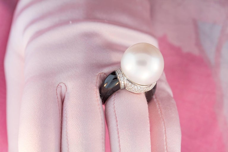 Ella Gafter South Sea Pearl Onyx Diamond Ring In As new Condition For Sale In New York, NY