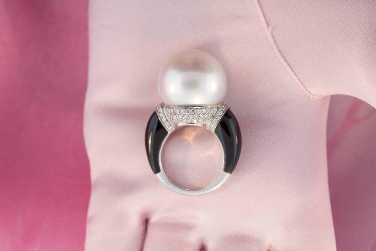 Ella Gafter South Sea Pearl Onyx Diamond Ring For Sale 2