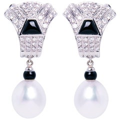Ella Gafter South Sea Pearl Onyx Diamond White Gold Clip-on Drop Earrings