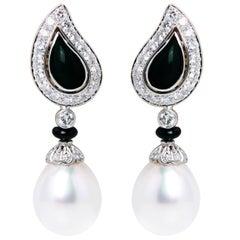Ella Gafter South Sea Pearl Onyx Diamond White Gold Clip-on Drop Earrings
