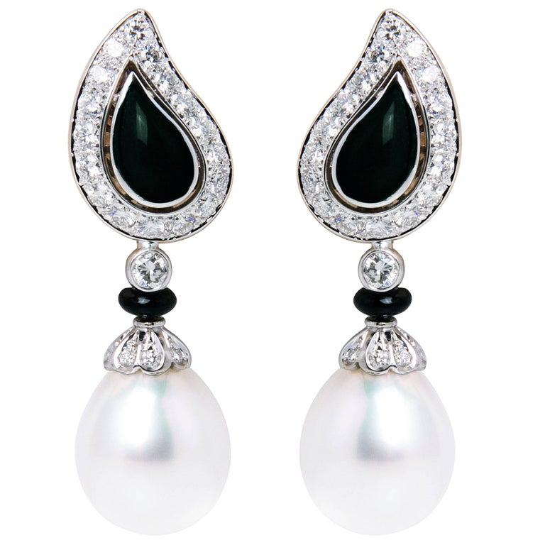 Ella Gafter South Sea Pearl and Diamond Drop Earrings White Gold Onyx