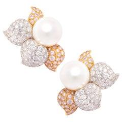 Ella Gafter South Sea Pearl Pink Diamond Earrings