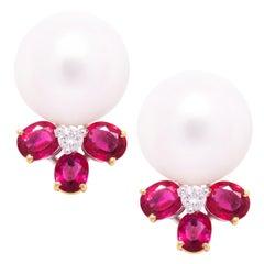 Ella Gafter South Sea Pearl Stud Ruby Earrings