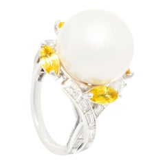 Ella Gafter South Sea Pearl Yellow Sapphire Diamond Cocktail Ring