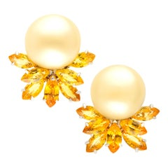 Ella Gafter South Sea Pearl Yellow Sapphire Earrings