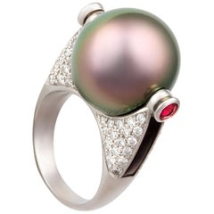 Ella Gafter Tahitian Pearl and Diamond Ring