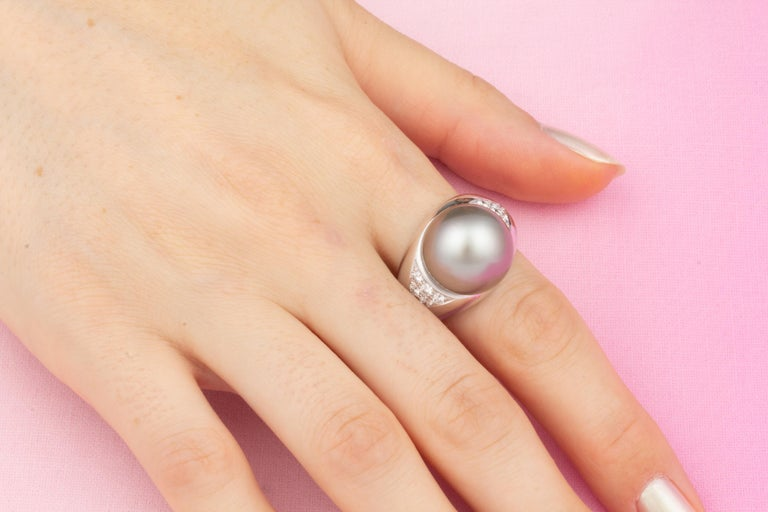 Artist Ella Gafter Tahitian Pearl Diamond Cocktail Ring For Sale