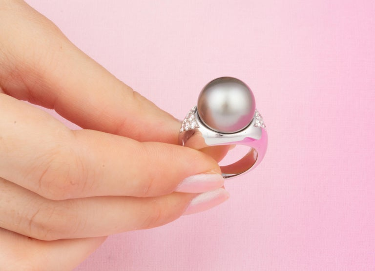 Women's or Men's Ella Gafter Tahitian Pearl Diamond Cocktail Ring For Sale