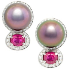 Ella Gafter Tahitian Pearl Ruby Earrings