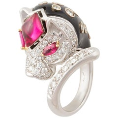 Ella Gafter Tiger Ring with Diamonds Ruby and Black Onyx