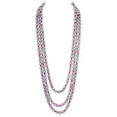 Ella Gafter Triple-Strand Tahitian Pearl Ruby Necklace Set