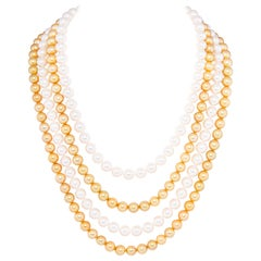 Ella Gafter Very Long White and Golden Pearl Necklace Set