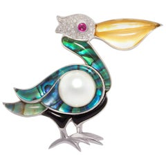 Ella Gafter Pelican Diamond Brooch Pin