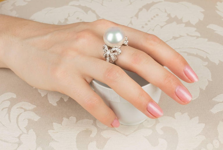 Artist Ella Gafter White South Sea Pearl and Diamond Bow Ring For Sale