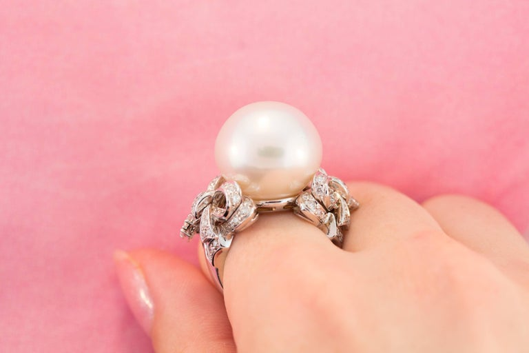 Ella Gafter White South Sea Pearl and Diamond Bow Ring For Sale 1