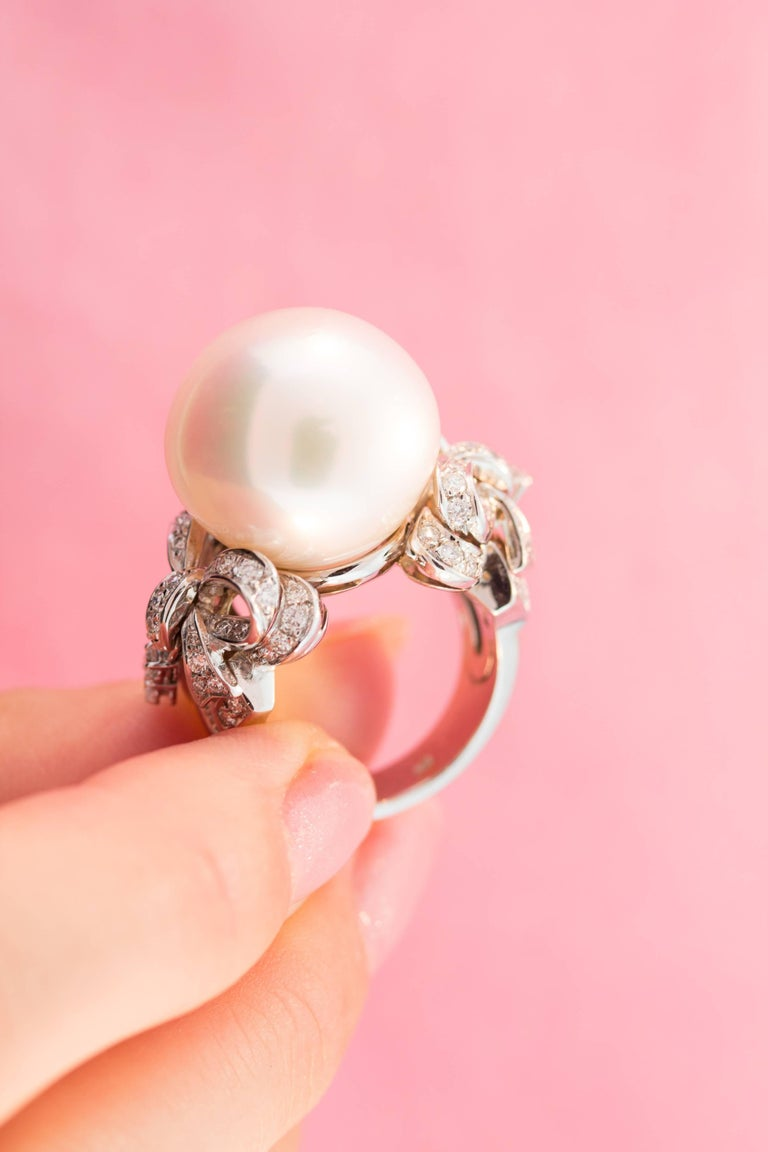 Ella Gafter White South Sea Pearl and Diamond Bow Ring For Sale 2