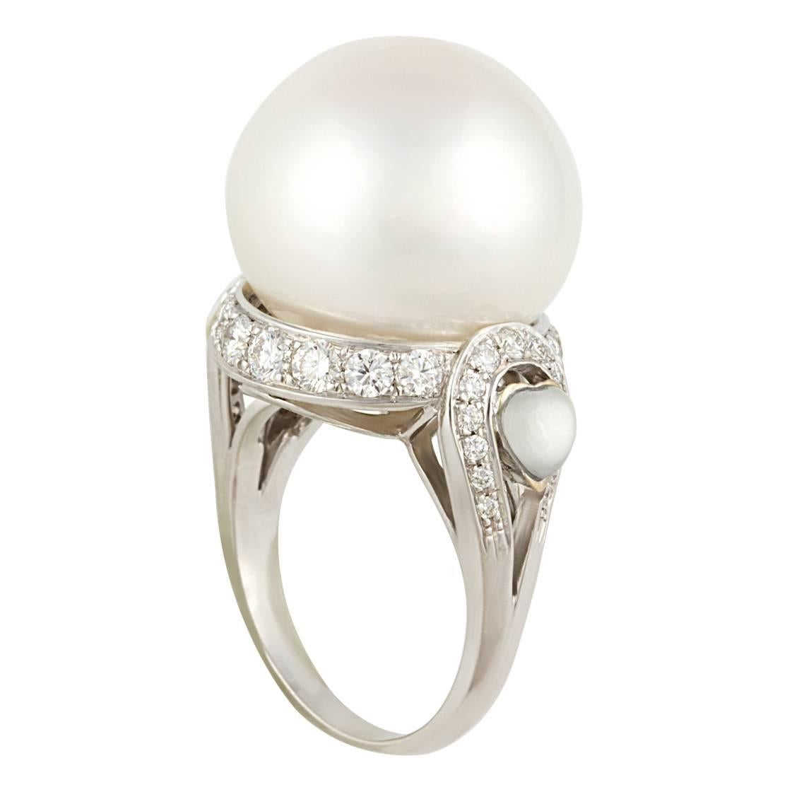 Ella Gafter 18mm South Sea Pearl Diamond Cocktail Ring