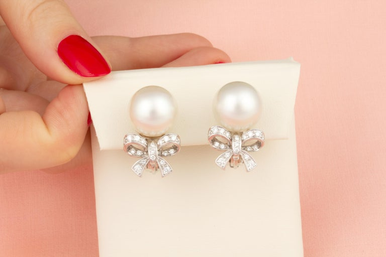 Contemporary Ella Gafter White South Sea Pearl and Diamond Earrings White Gold Bow Design For Sale