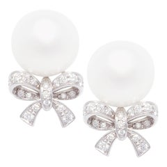 Ella Gafter White South Sea Pearl and Diamond Earrings White Gold Bow Design
