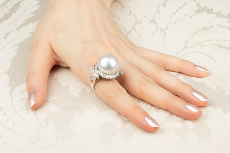 Women's Ella Gafter White South Sea Pearl and Diamond Ring For Sale