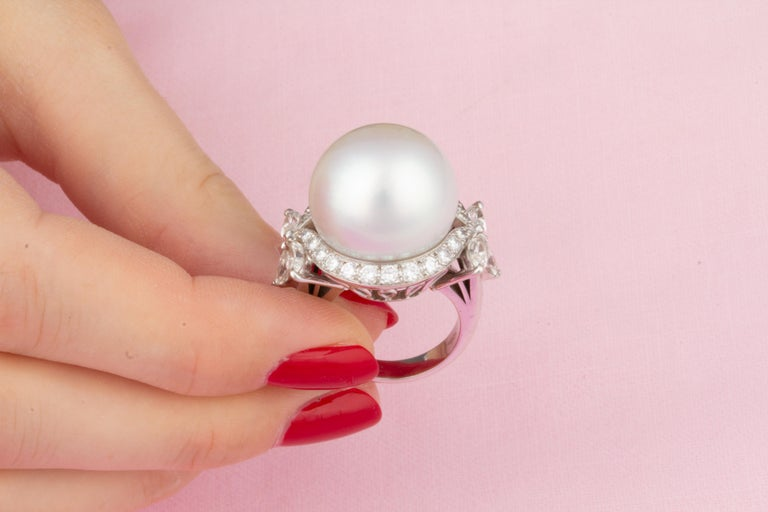 Ella Gafter White South Sea Pearl and Diamond Ring For Sale 2