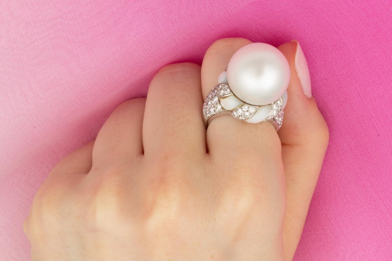 Ella Gafter White South Sea Pearl and Diamond Ring For Sale 4