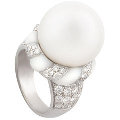 Ella Gafter South Sea Pearl Diamond Cocktail Ring