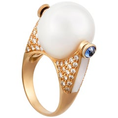 Ella Gafter White South Sea Pearl and Diamond Ring Rose Gold