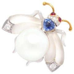 Ella Gafter White South Sea Pearl Diamond Bee Brooch Pin with Blue Sapphire