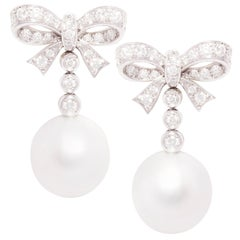 Ella Gafter White South Sea Pearl Diamond Drop Earrings Bow Design