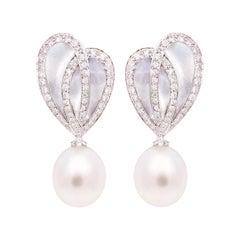 Ella Gafter White South Sea Pearl Diamond Drop Earrings